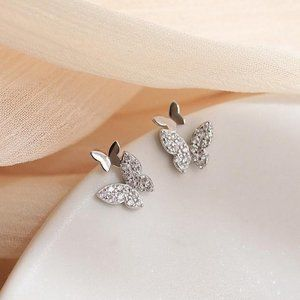 NEW 925 Sterling Silver Diamond Butterfly Earrings